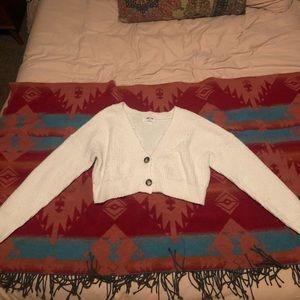 Cropped cream sweater cardigan